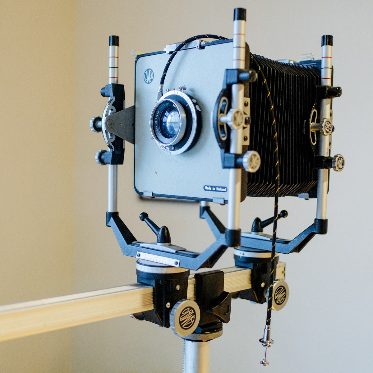 Cambo 4x5 monorail camera with 150mm f/5.6 Schneider-Kreuznach lens and Fidelity film holders
