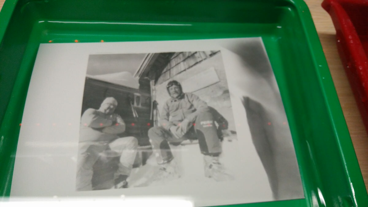 Printing in the makeshift darkroom - Vermeer 6x12 pinhole with Kosmo Foto Mono developed with Rodinal