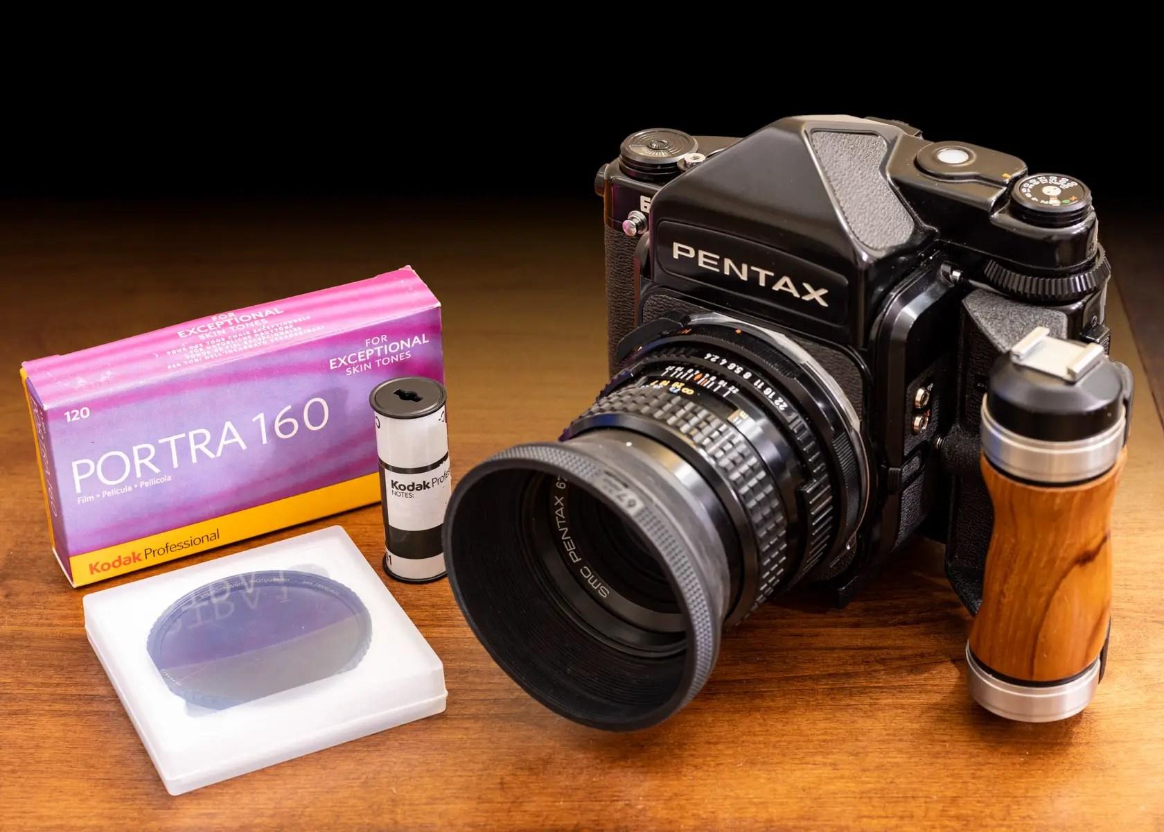 Pentax 67, SMC 105mm f/2.4 lens and Portra 16