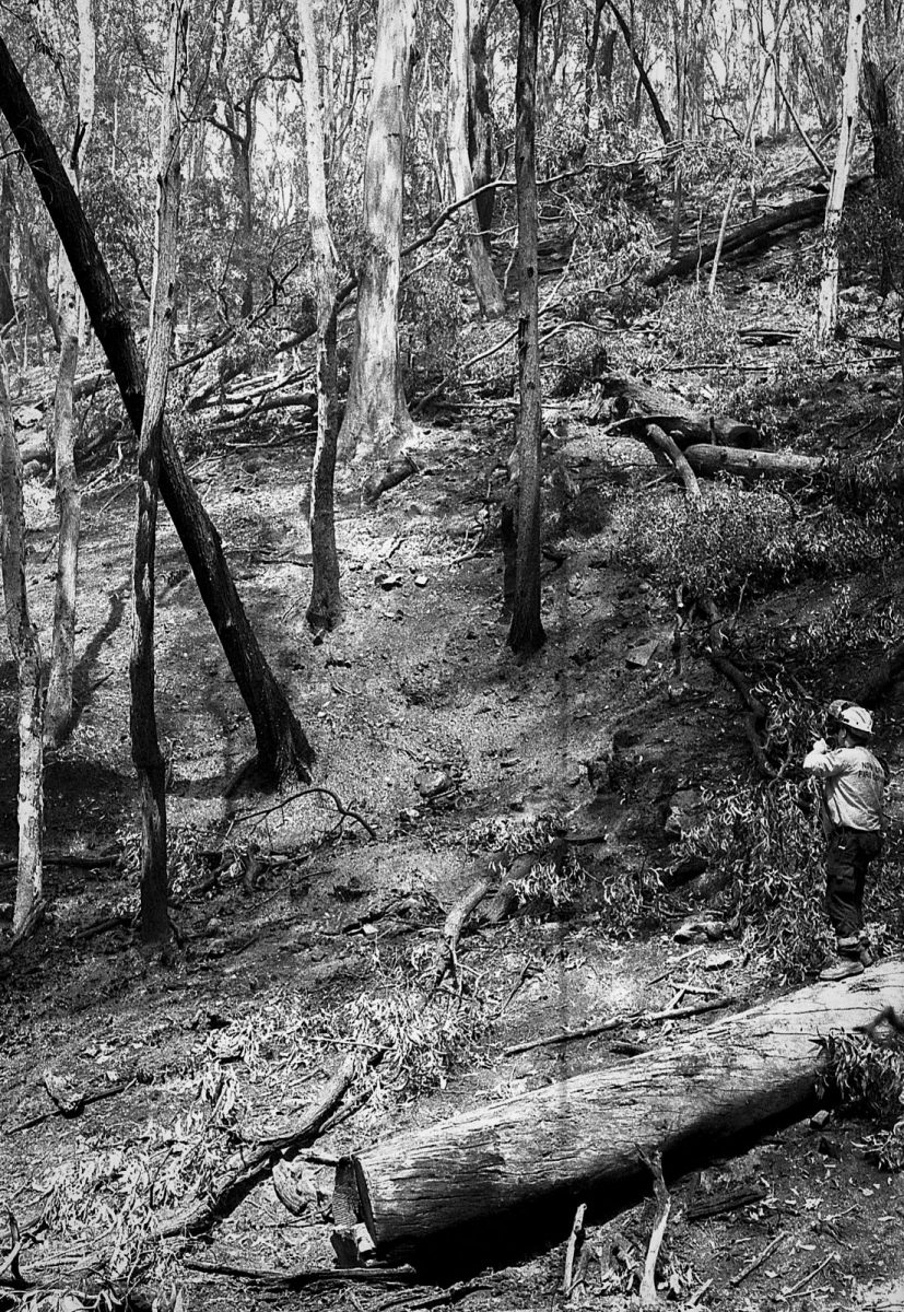 The Australian NSW bushfires on film - Keith guiding in a helicopter in with a water bucket.