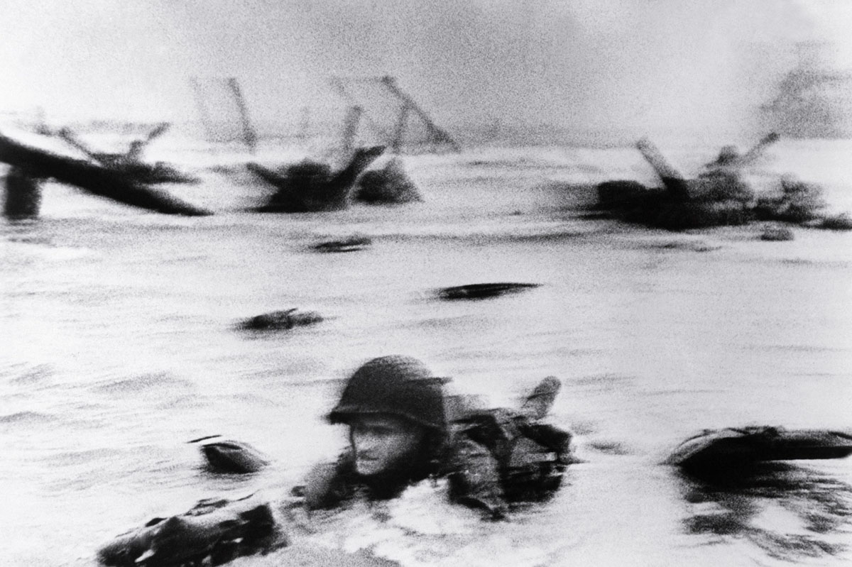 Robert Capa. One of his famous shots of the D-Day landing.