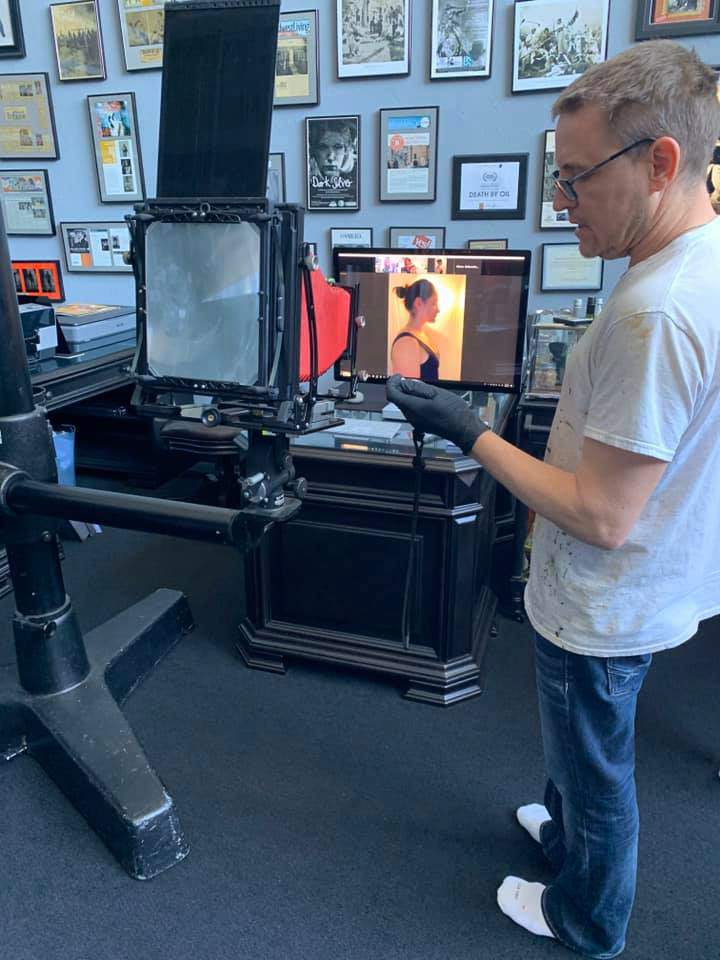 60-second wet plate exposure over live video feed
