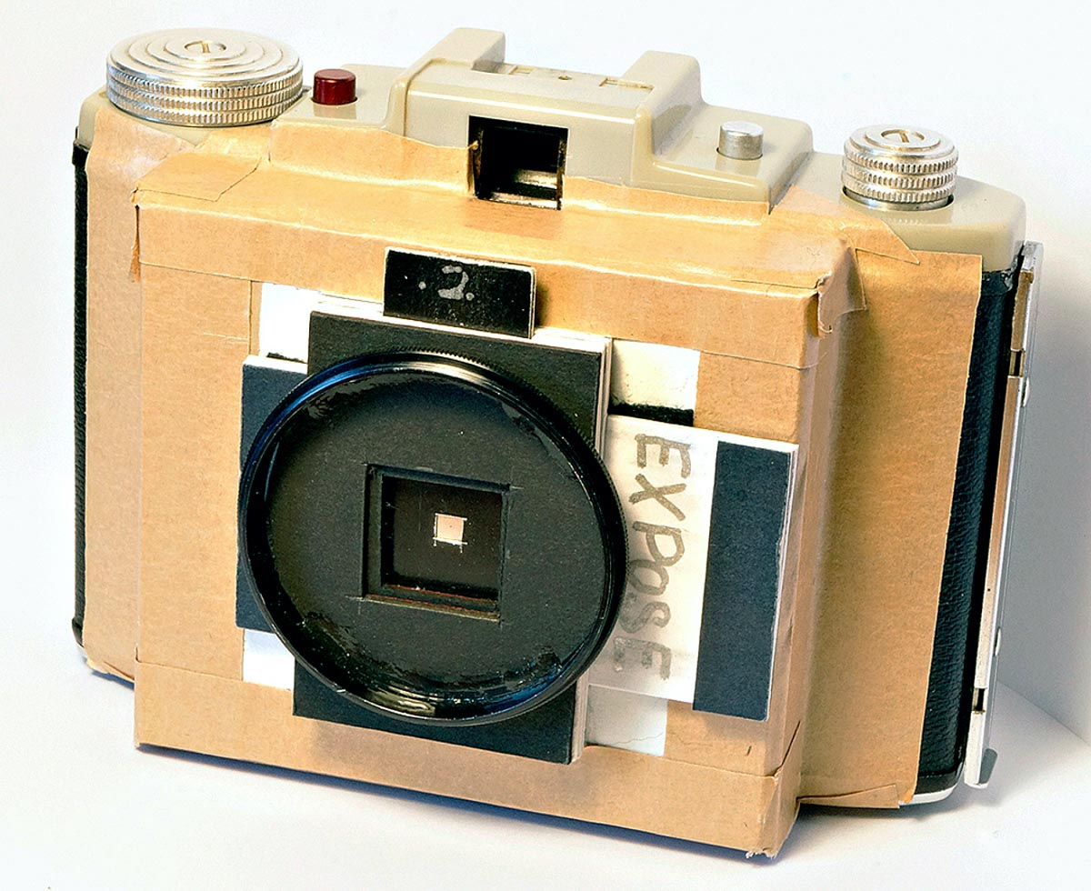 6x6 pinhole camera made from body of Kodak folding 120, card and tape, filter ring epoxied on to use 52mm filters, framing by estimation