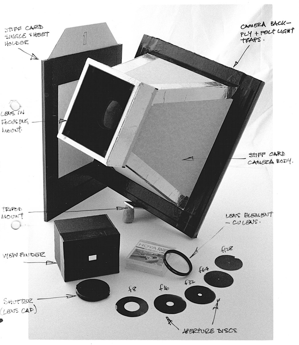 Card, plywood and tape 10x8 camera with close-up lens as taking lens with card single dark slide, felt light trapping