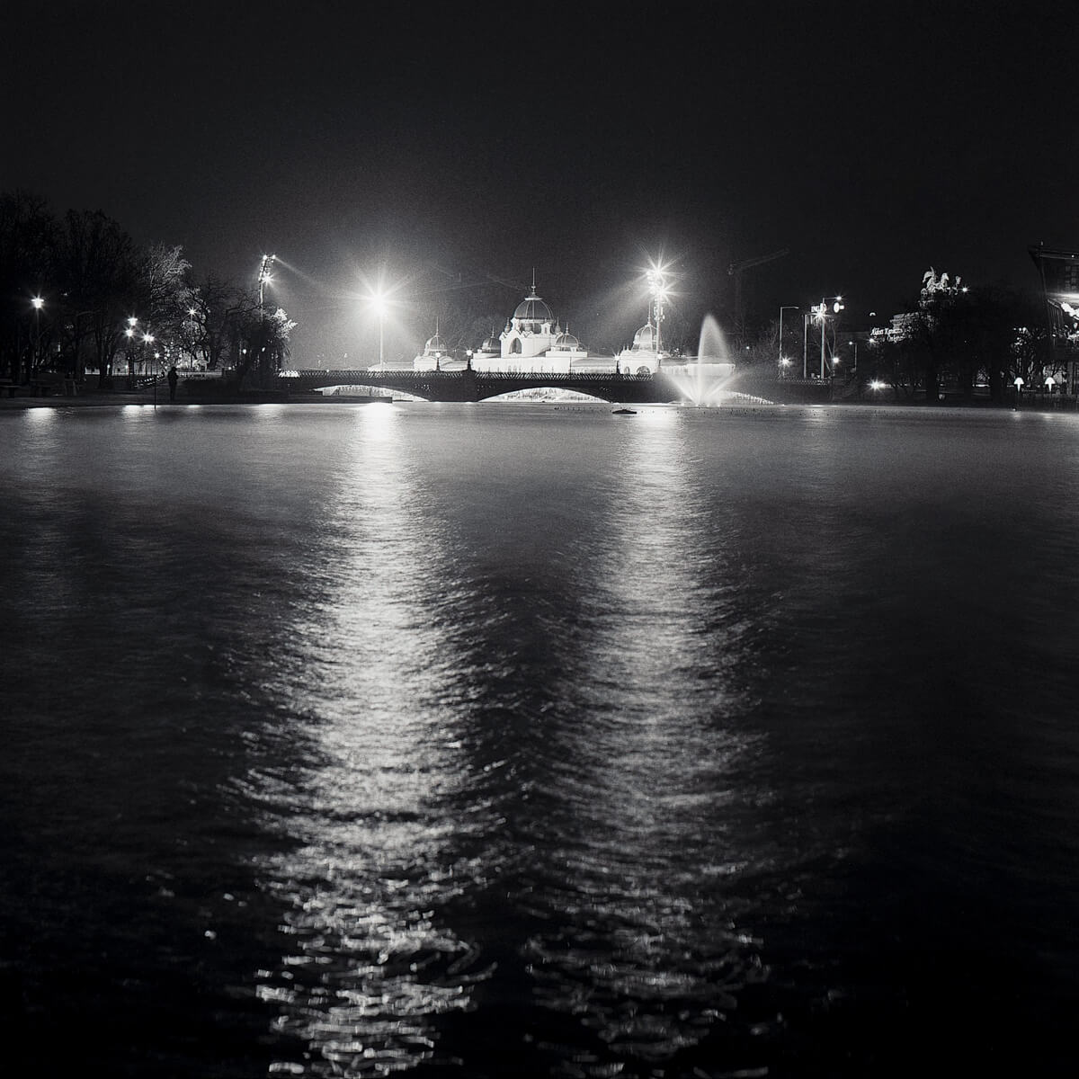 Pond at night - Pentacon Six with Carl Zeiss Jena 80mm f/2.8 Biometar, Kodak T-MAX 400 in CineStill Df96.