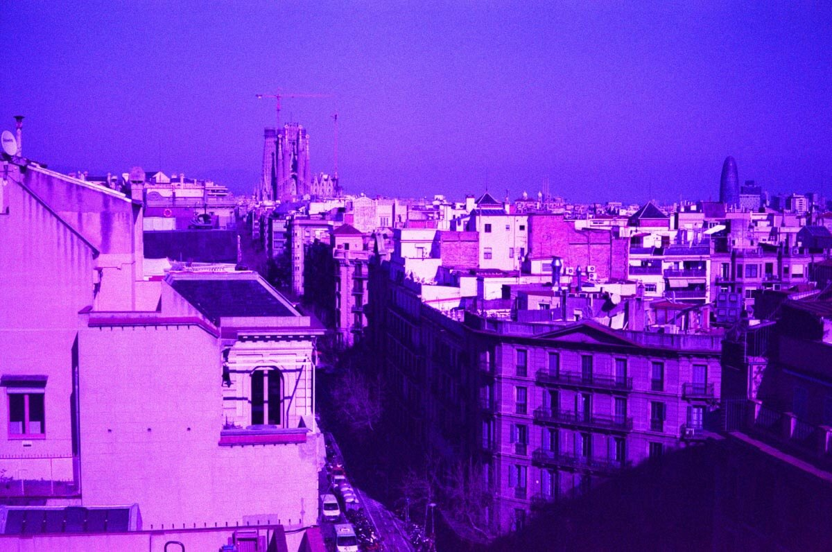 5 Frames... In Barcelona on LomoChrome Purple XR 100-400 (EI 400-ish : 35mm format : Leica M4-P) - by James Greenoff