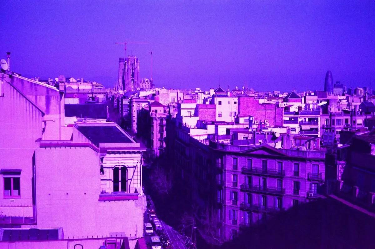 5 Frames... In Barcelona on LomoChrome Purple XR 100-400 (EI 400-ish : 35mm format : Leica M4-P) - by James Greenoff