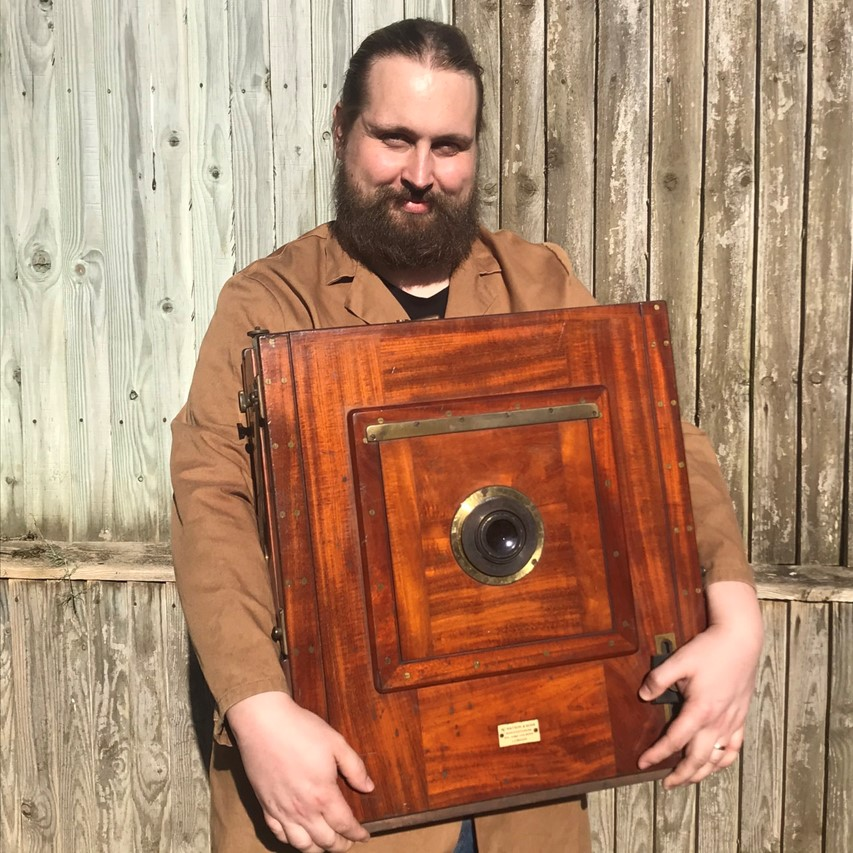 """The Watson 12x15"""" tailboard camera. When it was made it was the largest size available (from Watson). Unfortunately it arrived smashed and will require restoration. I hope to document the restoration in a series of videos."""