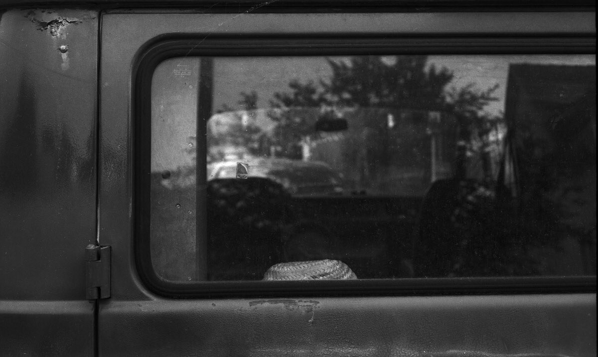 Mercedes Van Rear Window - ILFORD PAN F, Olympus OM-1 and Zuiko Auto-Macro 50mm f/3.5 - Mercedes van study