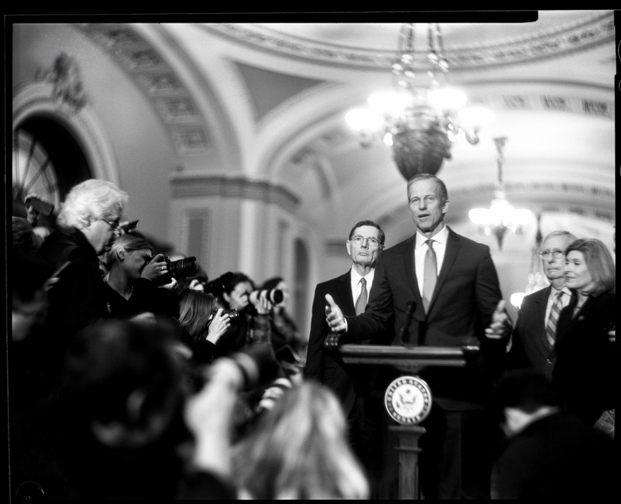 Senator Thune Speaks to Reporters, US Capitol - Speed Graphic - ILFORD HP5 PLUS pushed to EI 1600