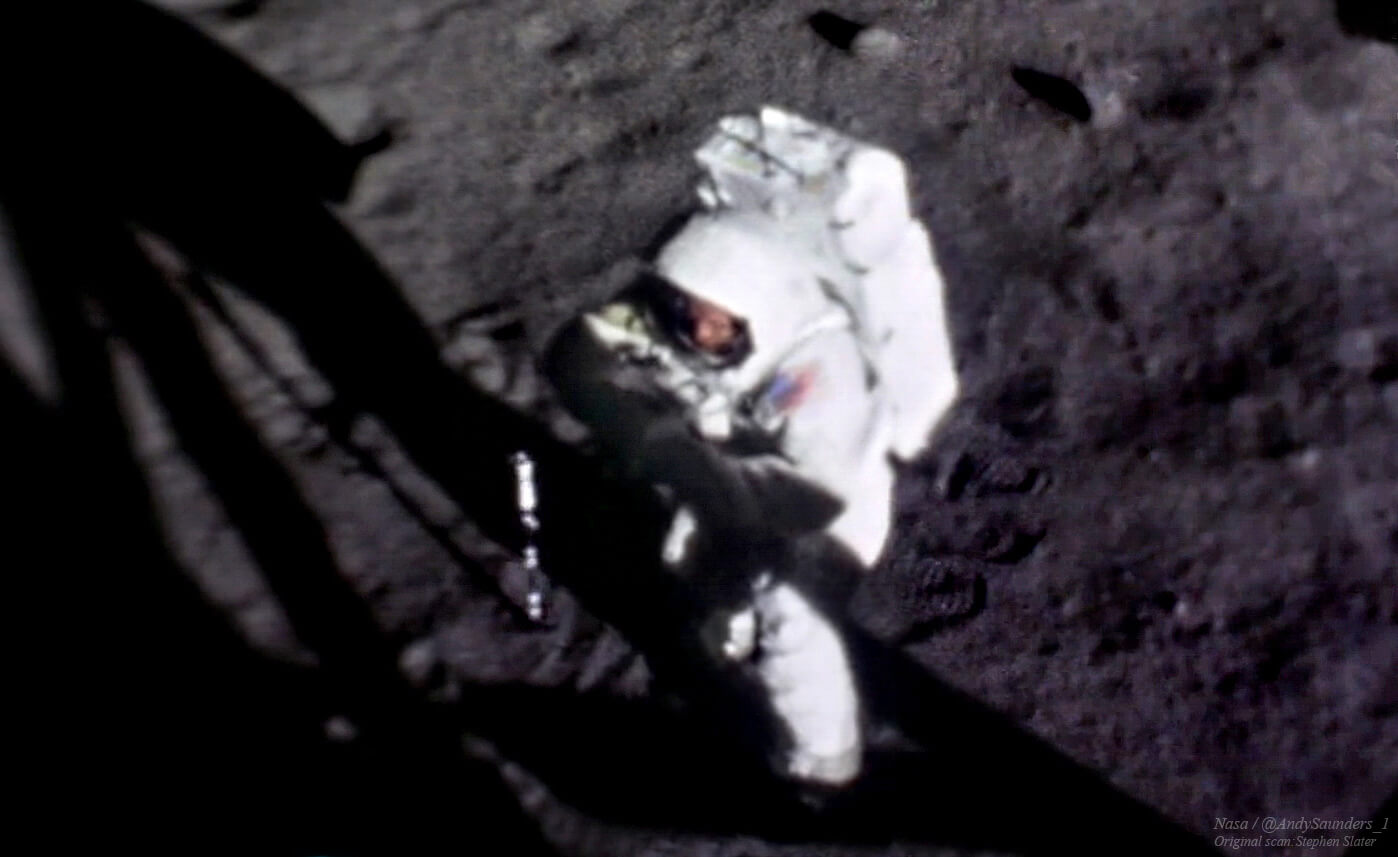 The image created from a stack of multiple 16mm 'movie' frames. The recognisable features of Neil Armstrong can be seen clearly for the first time, 50 years later.