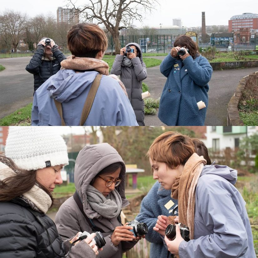 Marina Llopis teaching several photography students outside