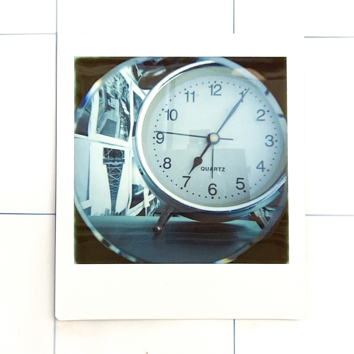 Clock with vignette - Lomography Diana Instant Square and Fujifilm Instant Square film