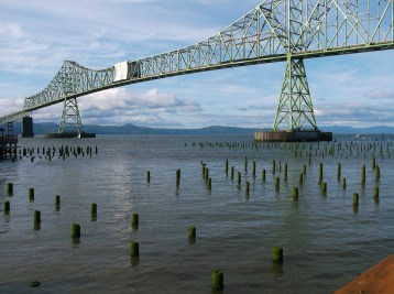Astoria-Megler bridge over the Columbia River between Oregon and Washington. A lot of repairs done this summer. (Note the white safety canopy to keep workers from blowing off the bridge)