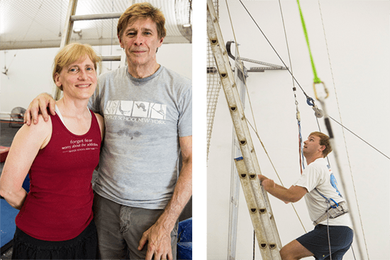 Dave and Anne Brown, Founders of New York Trapeze School. OnDeck's Gordon Summer getting ready to fly. Photo by Kate Glicksberg.