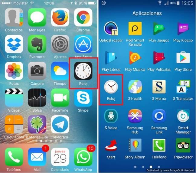 Capturas de los iconos del Reloj en Apple y Android
