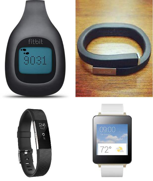 Wearables: clip de fitbit, pulseras de Jawbone y Fitbit, y reloj de LG