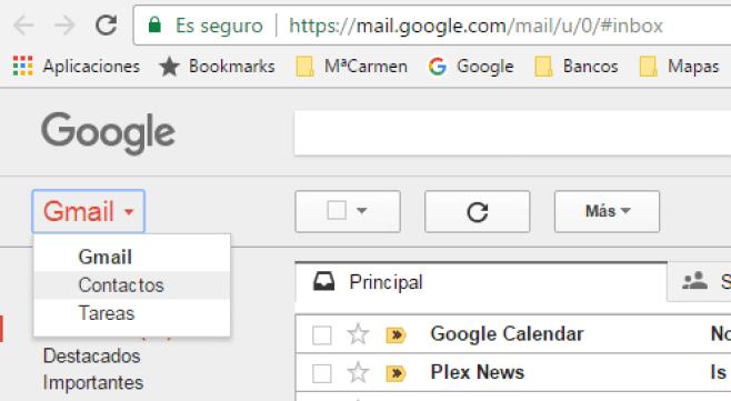Acceso a Contactos desde Gmail