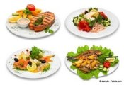 Four fish dishes. This image was created using four different shots.