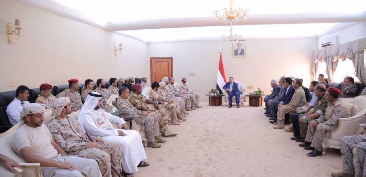 PM receives Arab Coalition commanders in Aden