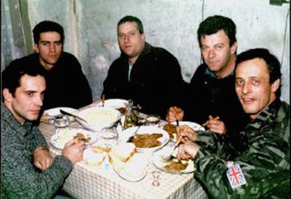 "British ""war dogs"" in Gospić in 1991. Karl Penta sitting the far right corner of the photo."