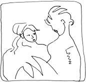 Mere et fille cousant Morisot dessin