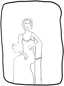 Lucarella femme en habit noir dessin b&w