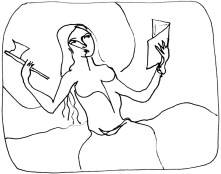 Femme libre au livre et à la hache persane dessin