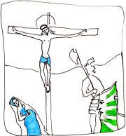 Miniature de missel crucifixion avec Marie et Madeleine