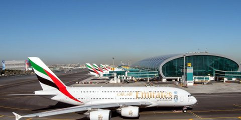 Emirates Airbus A380 aircraft at its hub at Dubai International Airport