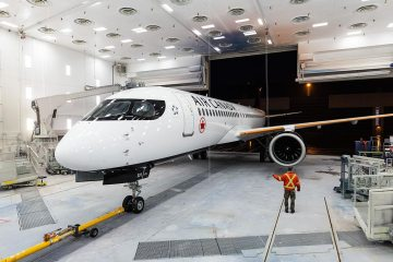 Air Canada A220 in paint shop