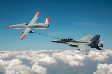 MQ-25 refueling F-18 Hornet
