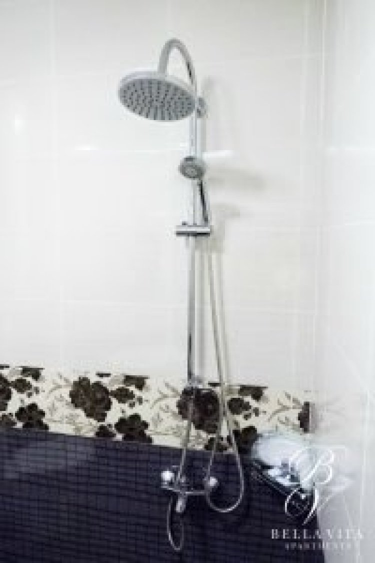 Luxury Bathroom with Massaging Shower in Furnished Apartment for Rent in Downtown Blagoevgrad Bulgaria