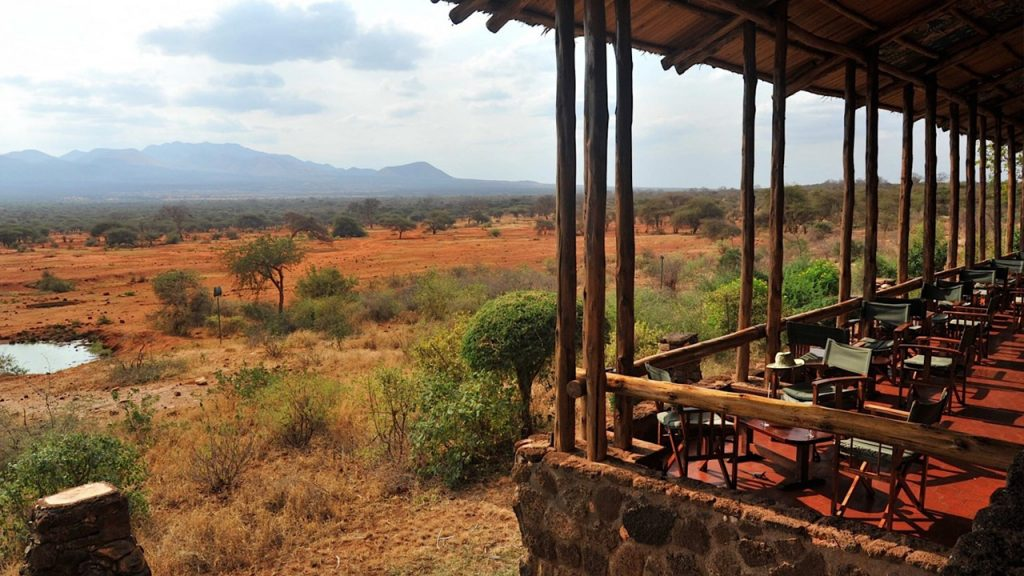 The terrace at Kilaguni Safari Lodge with the water hole