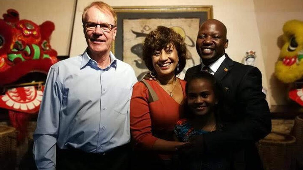 Rino and Julie Solberg with their adopted daughter Nicola and Uganda's State Minister for Tourism, 180702