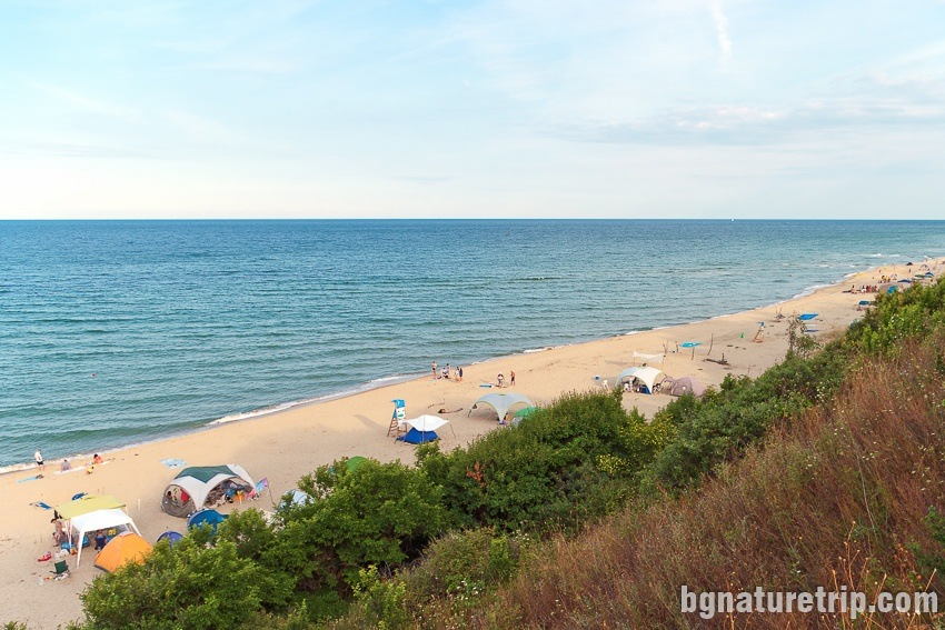 Many campers in the wild have placed their tents on the sand at Irakli Beach, Bulgaria