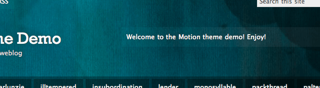 WordPress.com Motion テーマのヘッダー