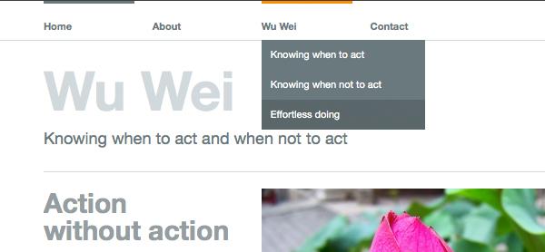 Wu Wei テーマのメニュー