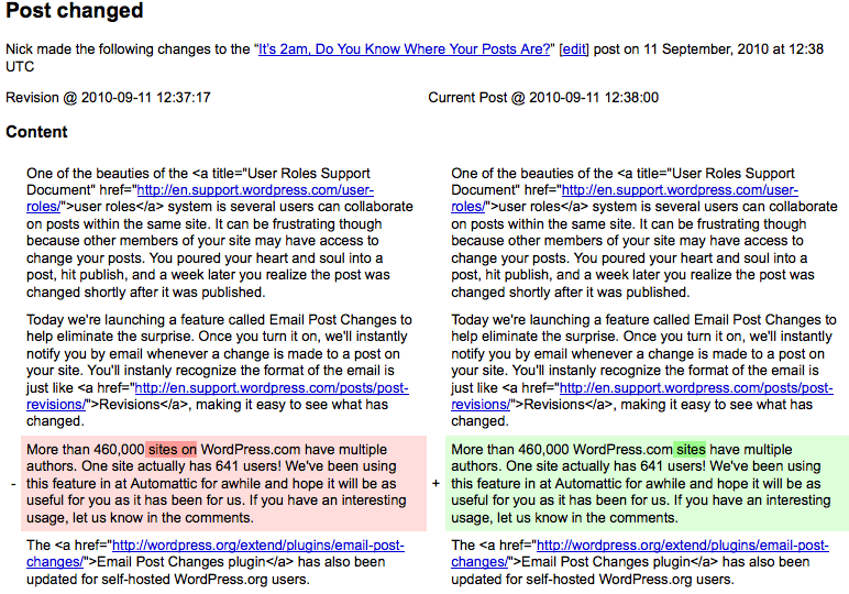 Email Post Changes plugin - email view. Image via WordPress.com