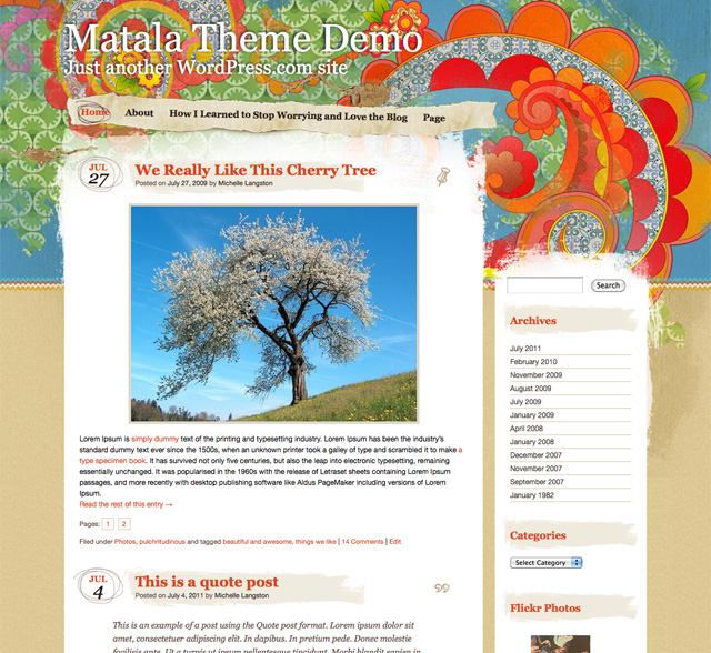 Screenshot of the Matala Theme
