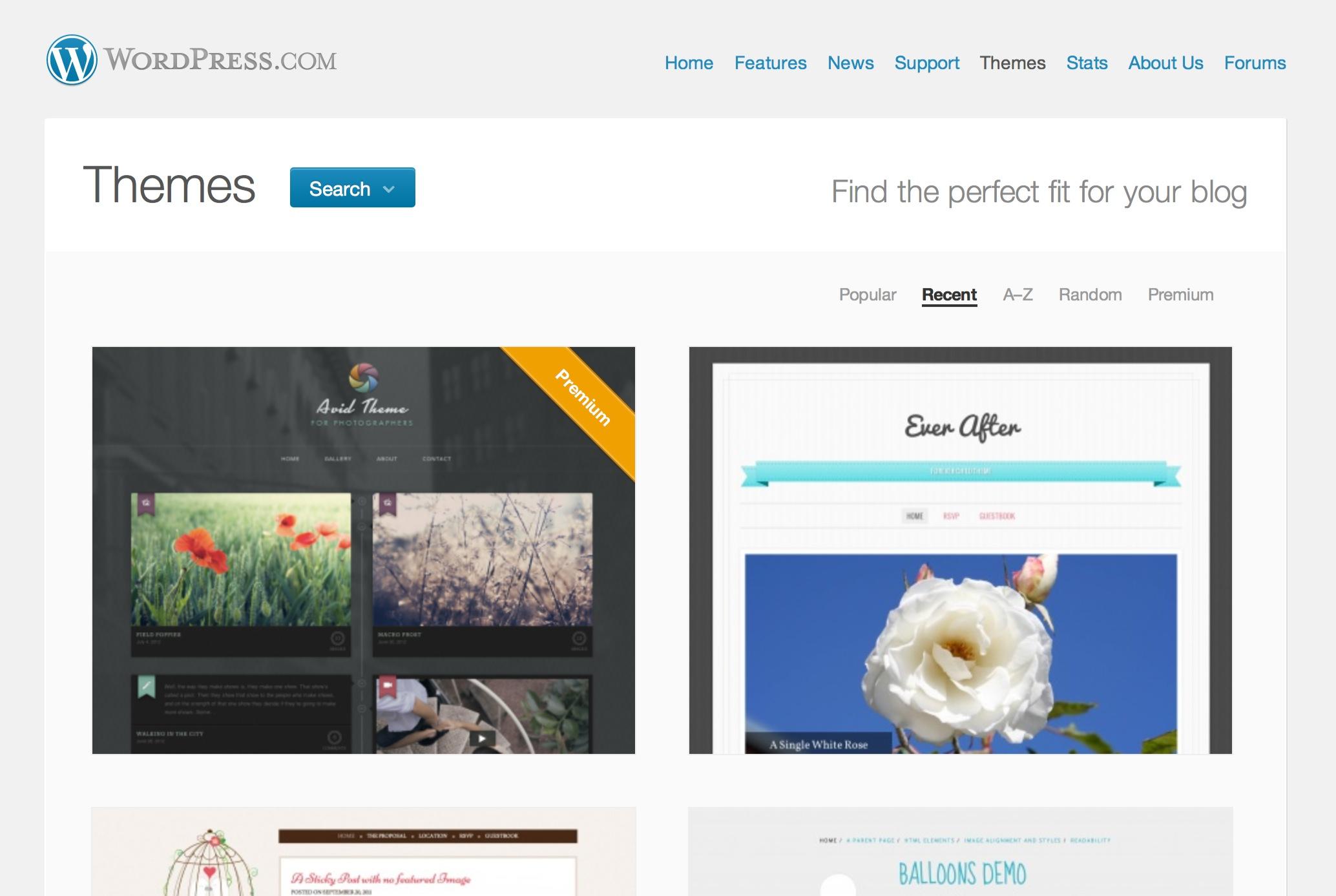WordPress.com テーマショーケースのスクリーンショット