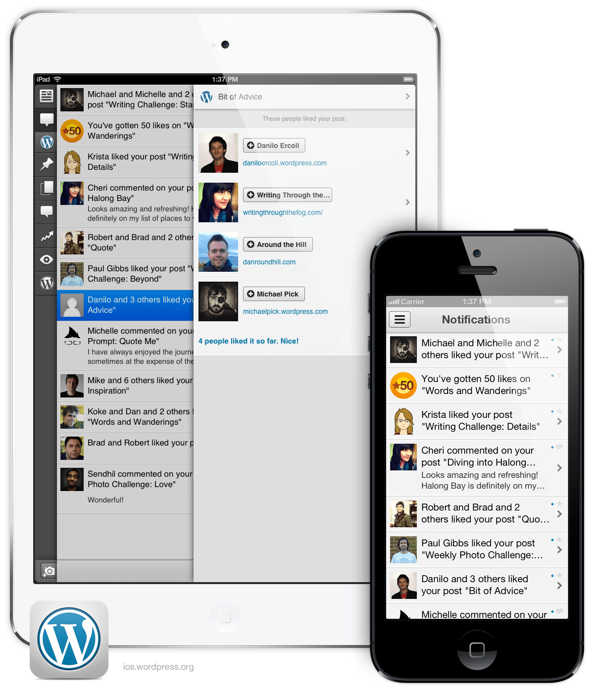 Version 3.4 of WordPress for iOS: Notifications, showing on iPad Mini and iPhone 5