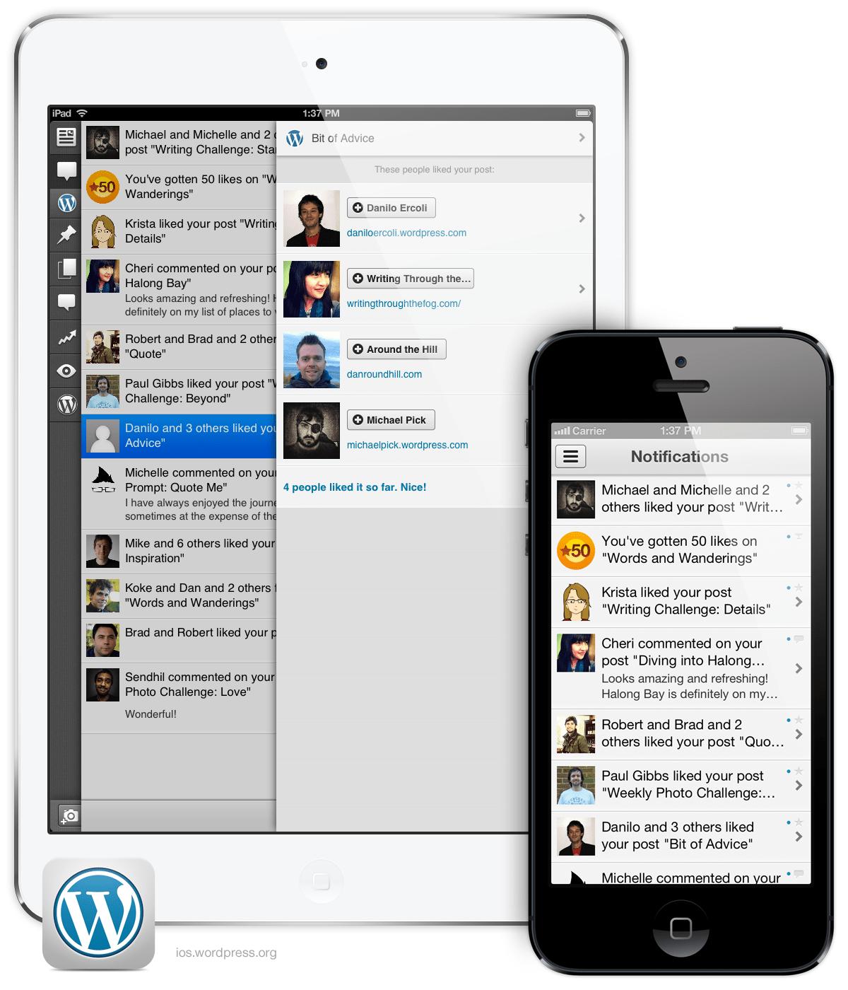 プッシュ通知機能がついた WordPress for iOS バージョン3.4: iPad Mini と iPhone 5