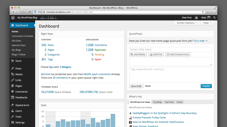 WordPress.com の新しいダッシュボード