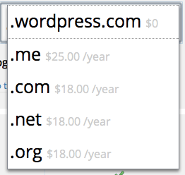 At WordPress.com, you can register domains ending in .com, .net, .me, and .org.