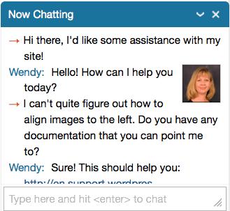 Live chat screenshot