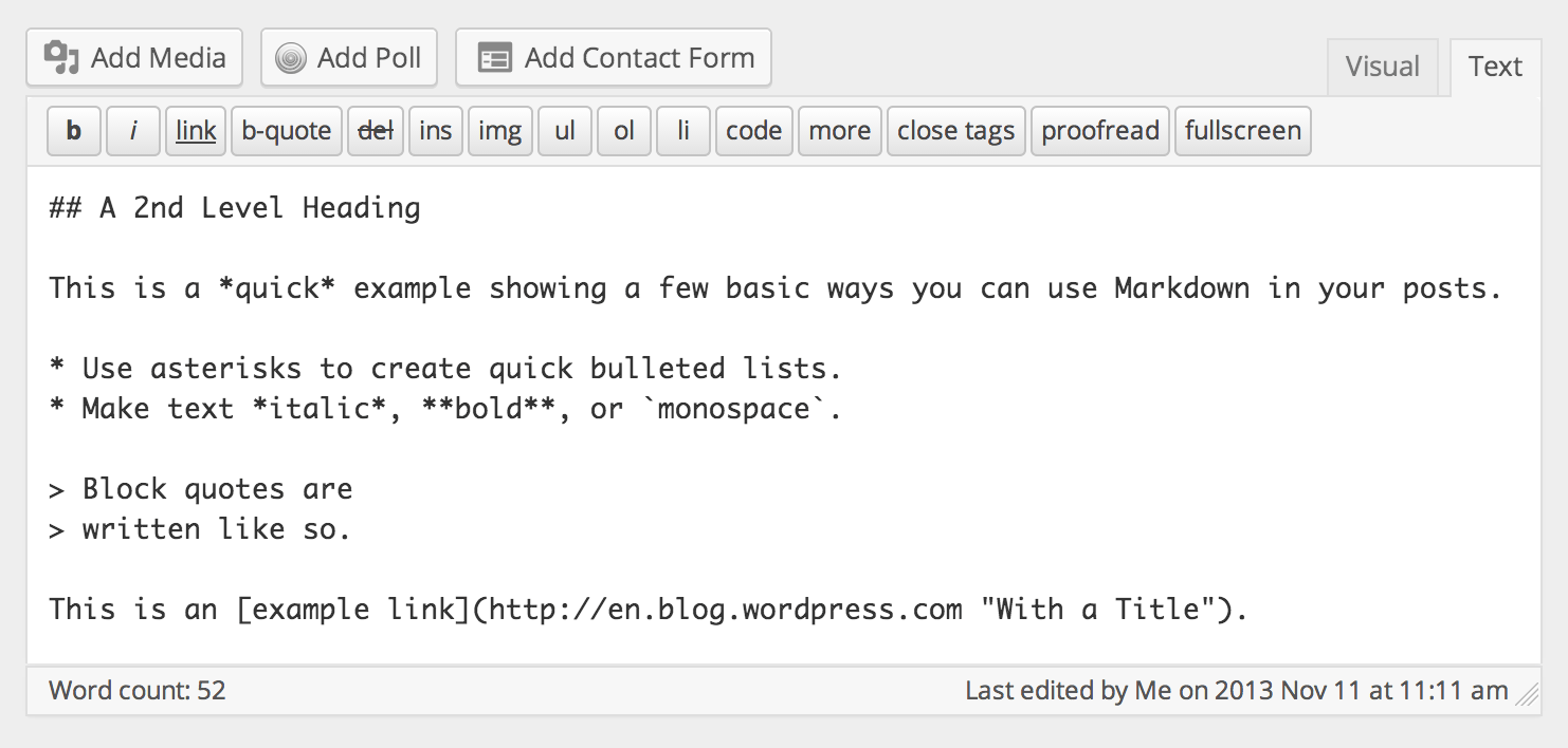 Markdown Example in the Text Editor