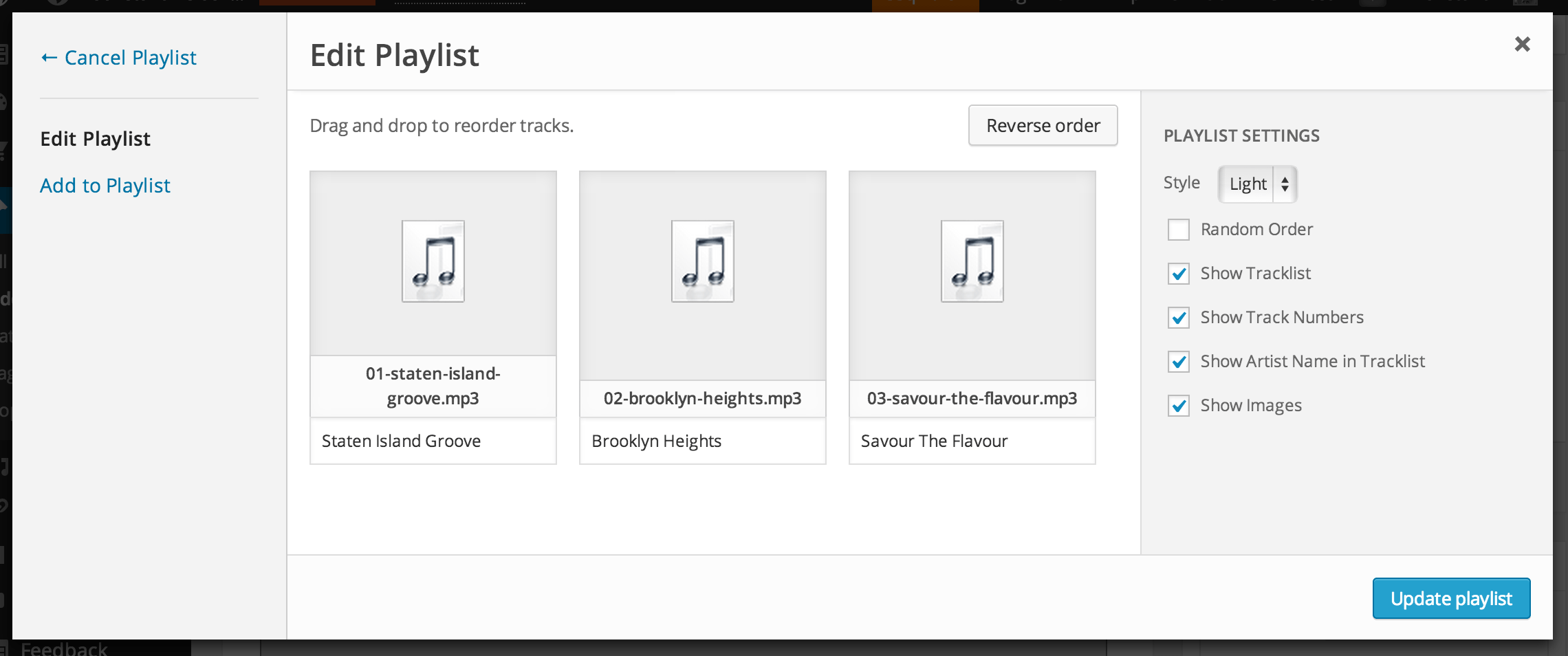 Edit, reorder and insert an audio playlist