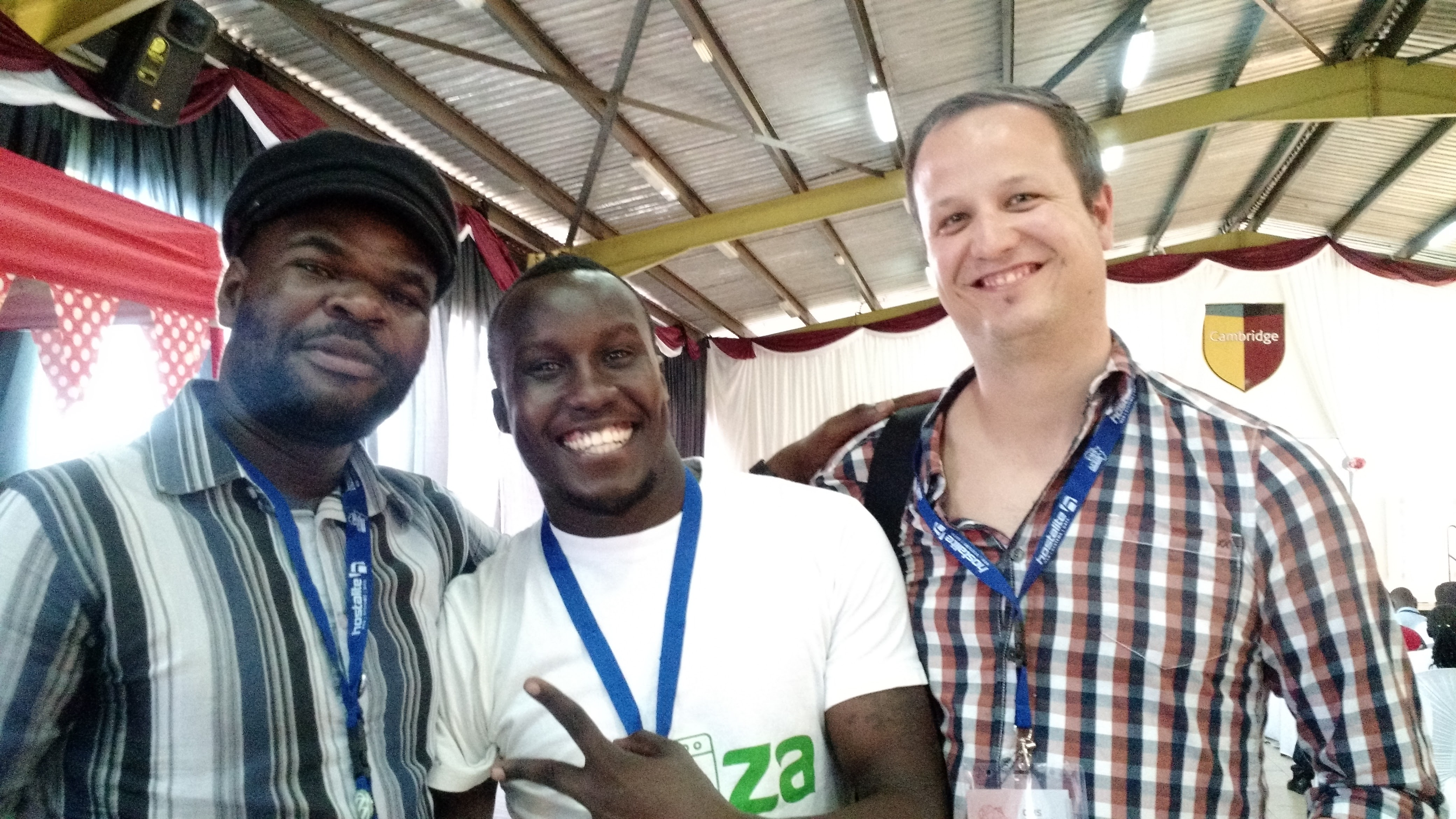 From left: Oduor Jagero (CMS Africa Summit co-organizer), entrepreneur Solomon Kitumba, and Job.