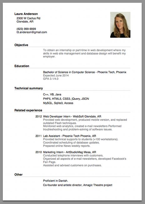 cv resume samples sample of a beginner s cv resume cv cover letter